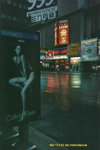 Christy Turlington's sultry ad for Calvin Klein was as sexy to me as anything in the porn shops across the street. (Click to enlarge.)