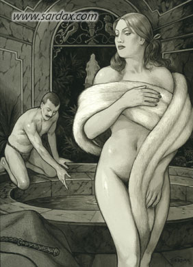 The narrator of Venus in Furs tends to his mistress at her bath...her whip nearby!