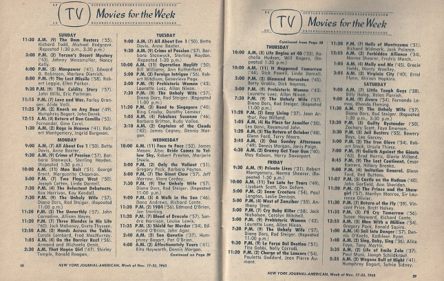MoviesOnTV November1963