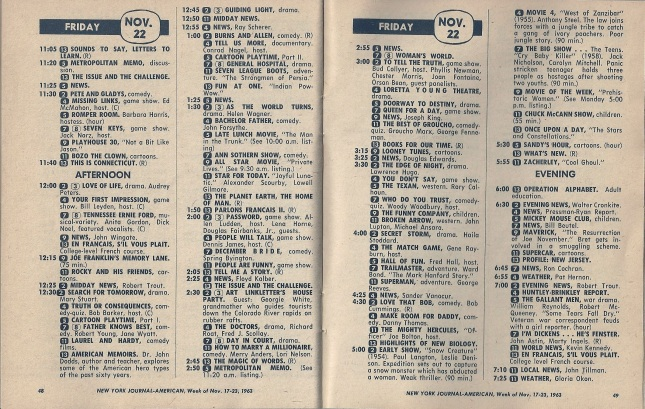NYC TV Schedule-Nov22-1963